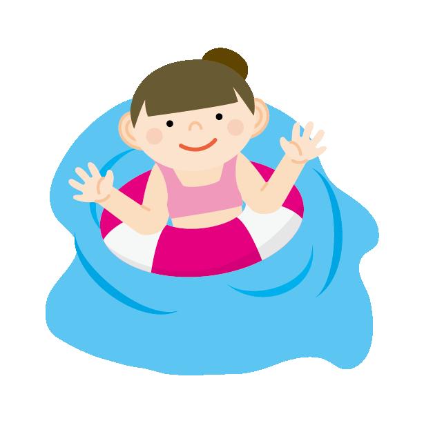 子供のプールの髪型